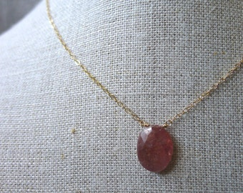 Pink Umba Sapphire Slice Necklace on Gold Chain, 618c