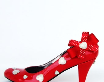 Red Valentine Bridesmaids Shoes with Shiny Hearts