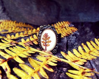 real leaf jewelry - leaf ring - nature ring with beige leather, real pressed tiny leaf - nature inspired, cute, handmade, beautiful