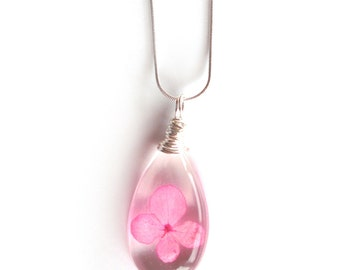 Pink Hydrangea Flower  Necklace - Real Flower Encased in Resin - Pressed Flower Jewelry - Resin Necklace - Resin Jewelry - Teardrop Pendant