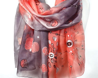 Silk Scarf. Hand Painted Silk Scarf. Unique Gift. Coral Red Scarf. Eggplant Silk Shawl. Woman GIft. Art on Silk. 18x71in MADE to ORDER