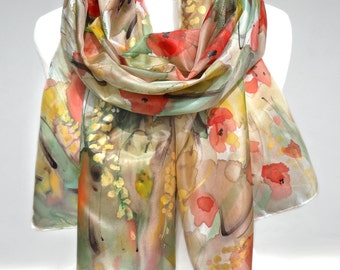 Poppies Scarf. Hand Painted Scarf. Silk Shawl. Birthday Gift. Red Floral Woman Shawl. Echarpe Foulard. Bridal GIft. 18x71in MADE to ORDER