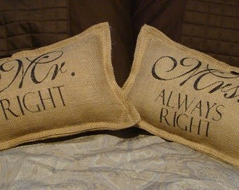 Set of 2 Burlap Mr. Right and Mrs. Always Right Wedding Pillows With Bows
