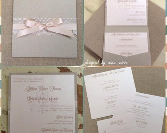 POCKET INVITATION SET: Rustic Lace Square, Customize for weddings, sweet 16, Bat Mitzvah and more - you choose all colors!