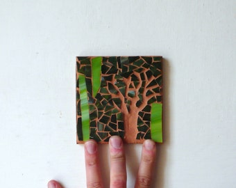mosaic art / minimal dark green acid mosaic / SAVANA I / tribal, nature, moon, tree / glass mosaic / shabby chic mosaic / original mosaic