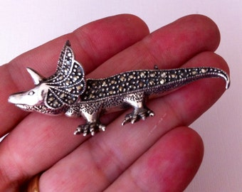 Vintage Triceratops Brooch, Silver Colored with Marcasite, Rare and wonderful Dinosaur Pin