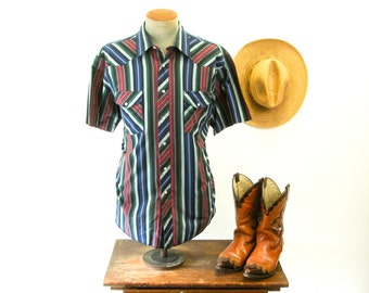 Vintage Wrangler Western Shirt Mens Cowboy Style Colorful Striped Short Sleeve Shirt with Pearl Snaps by Wrangler Western Shirts - Size XL