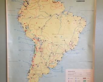 Vintage Map - South America, Transport of Economic Goods- Wall Hanging - German Retro Decor