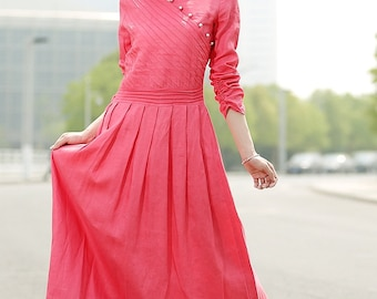 Romantic Watermelon Red  Long  Dress C354