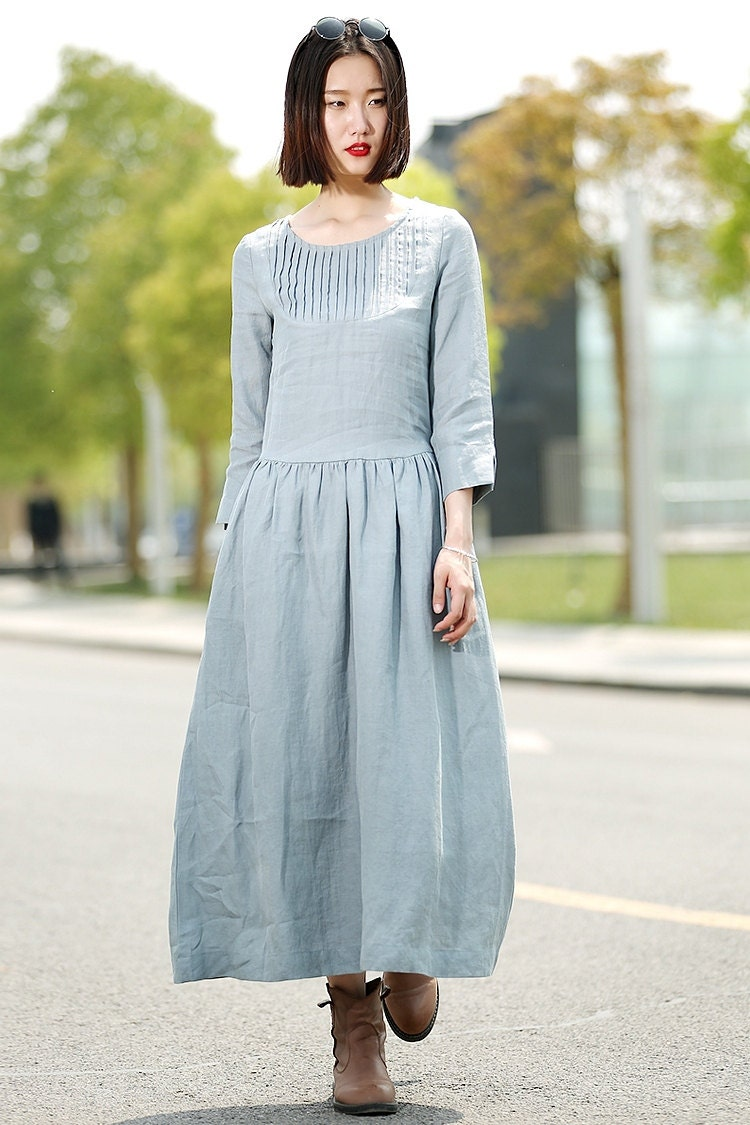 Blue Linen Dress Long Maxi Casual Summer Loose-Fitting