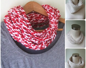 Red White Scarf .. Team Scarf Necklace .. Baseball Scarf .. Infinity Chain Scarf .. Red Scarf Necklace .. Football Scarf .. Christmas Scarf