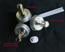 Soap Dispenser Kits -12 Soap Dispenser Pump Kits for Mason Jar Dispensers -Drilled Lids Collar Rings -Stainless, Brass, Bronze or Copper