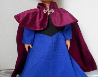 Frozen Princess Anna dress and cape for American Girl doll and 18 inch dolls