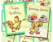 INSTANT DOWNLOAD Retro Birthday Animal Parade, Printabe Digital Collage Sheet for scrapbooking, card making, banners, tags. atc/aceo sized.