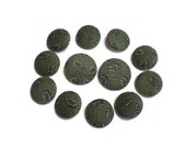 Custom Order Fabric Covered Buttons Handmade Buttons Ten 7/8 inch Buttons and  Two 1 1/8 inch Olive Green and White Paisley Corduroy