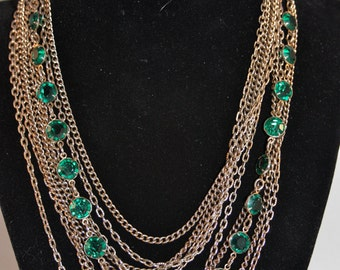 Vintage necklace with green emerald faux stones