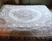 Antique French Lace Fringed Bedspread Throw Boudoir Winged Putti Cherubs angels & Roses Shabby Chic bedroom Romantic