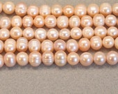 Large Pink Potato Pearls, Big Peach Freshwater Pearls 8-9mm Semi Round with Clarity Characteristics--Full Strand