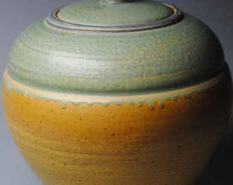 Clay Covered Jar Taffy and Green L38