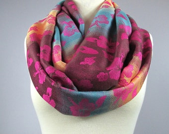 Infinity scarf SUNSET  , ombre scarf, multicolored floral scarf, pashmina scarf