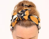 Tie up headscarf - Retro tie up head scarf with orange dot pattern - boho headscarves