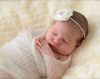 Baby Headband, Infant Headband, Newborn Headband, Shabby Chic Ivory Headband with rhinestone on skinny elastic