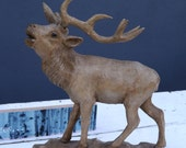 Beautiful Black Forest stag wooden sculpture
