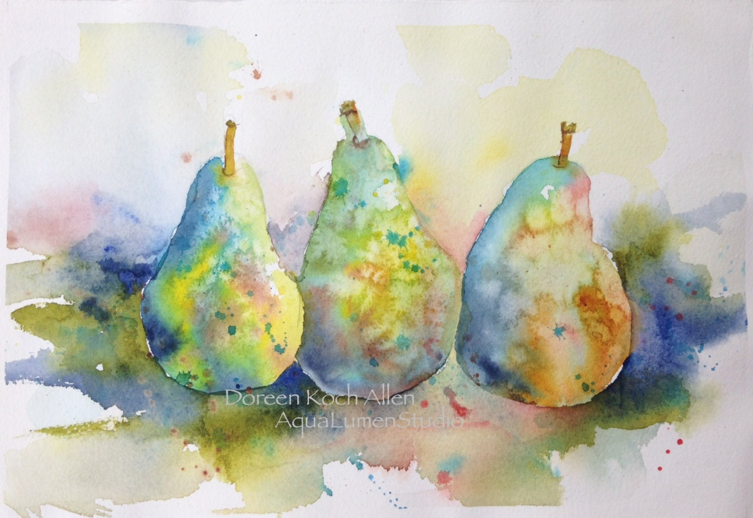 Rainbow Pears Original Watercolor Painting 7 5 X 11 Ooak