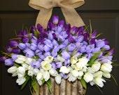 spring wreaths Mother's Day gifts purple tulips wreath front door decorations burlap bow birch bark vases wreaths