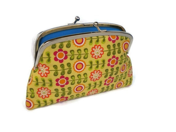Yellow flower coin purse made with twin section metal wallet frame - orange floral, turquoise
