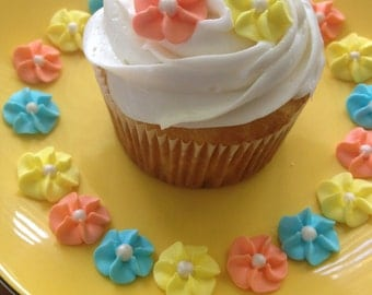 Yellow, Peach and Blue Royal Icing Flowers (100)