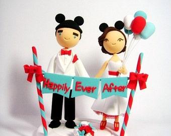 Disneyland themed custom wedding cake topper