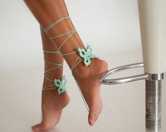Butterfly Mint Crochet Barefoot Sandals, Nude shoes, Bridal foot jewelry, Fairytale wedding accessory