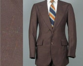 Vintage 1970s Mens Suit -- Big and Tall -- Brown Single Breasted Peaked Lapel Multi Color Fleck Deadstock  42 Tall/Long