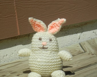 Knit Bunny, Cream Colored Bunny, Knitted Bunny, Stuffed Bunny, Plush Toy, Soft Toy, Baby Bunny, Hand Knit Rabbit, Ready To Ship