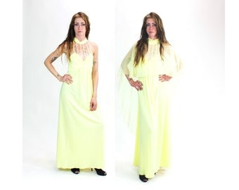 1970s Yellow Cage Sheer Kimono Sleeve Maxi Dress