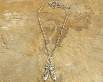 Children's Pewter Ballet Slippers Pendant on a Link Chain Necklace  - 1697