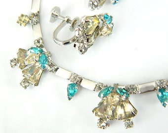 Volupte' Necklace And Earrings Elite Vintage Art Deco Jewelry 1950s High Fashion Collectible Jewelry Yellow And Blue For Women