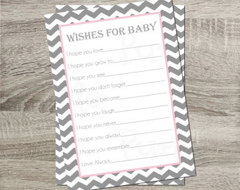 Advice for Baby Cards Wishes for Baby Cards INSTANT DOWNLOAD DIY Chevron Gray and White with Pink Mat