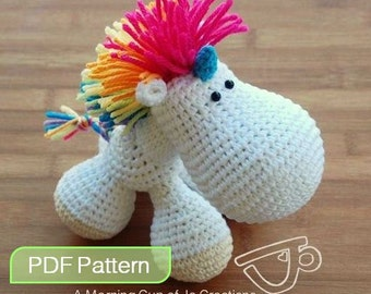 Amigurumi Crochet PDF Pattern - Hugo the Baby Unicorn (Instant Download)