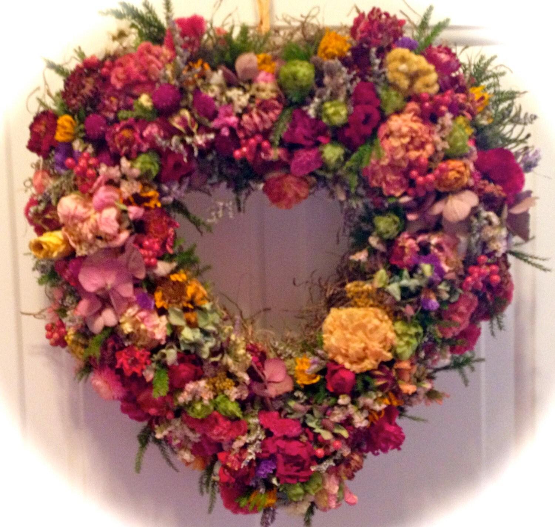Dried flower wreath heart by