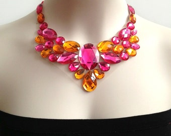 fuchsia and orange handmade rhinestone bib necklace, wedding, bridesmaids, prom necklace