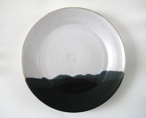 Plate Winter Landscape Handthrown Stoneware Pottery By