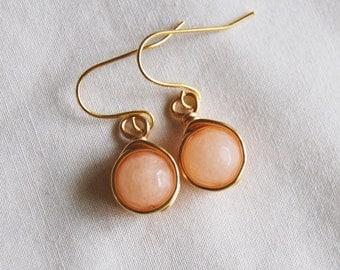 Peach Earrings , Bridesmaid Earrings , Gold Drop Earrings , Jade Earrings