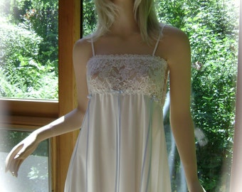 Nightgown in Natural White Sueded Silk Charmeuse, Hand Embroidery and Floral Lace Bodice