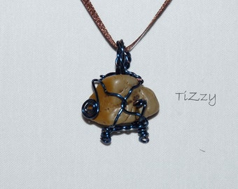 Tan Stone w/ Blue Wire Wrapped Necklace Pendant