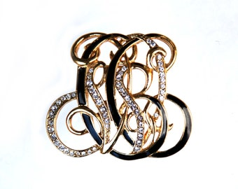TRIFARI Signed Jewelry Letters Scroll Vintage Brooch Gold Crystal Rhinestone Black Laqueur Pin  Jewelry for Her