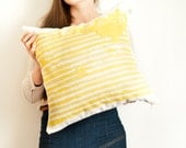 Sunshine Yellow striped pillow cover, abstract watercolor lines