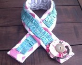 Camera Strap Cover with Ruffle - Stocking Stuffer Pink Chevron