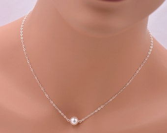 Set of 7 Silver and Pearl Bridesmaid Necklaces, Floating Pearl Necklaces, Real Sterling Silver Bridesmaid Necklaces, Suspended Pearl 0084